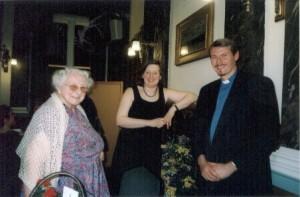 Miss Murial Reay, Janet Horton (retiring dinner secretary) and speaker Rev. Canon Adrian Newman