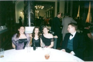 Students Julie, Jo and Claire with Benedict Kimpton